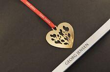 Georg Jensen 2014 Christmas Heart Decoration 24k GOLD + Red ribbons NEW giftwrap