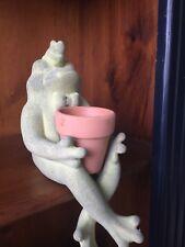 Vintage GREEN BULLFROG Frog Planter Verdigris Washed Stone NEW in BOX ▬ 8/6❤️m17