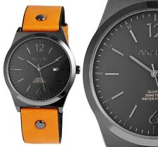Herren Armbanduhr Anthrazit/Schwarz Hellbraun Kunstlederarmband Datum von AKZENT