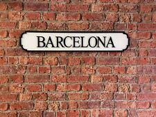 Vintage Wood Street Sign BARCELONA