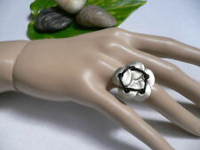 New Women Silver Metal Big Flower Five Leaves Black Fashion Ring Adjustable Size