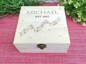 Music Notes Design Music Sheet CD Storage Box - Personalised