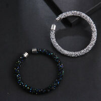 Glitter Crystal Accents Cuff Bracelet Open Bangles Women's Fashion Jewelry Decor
