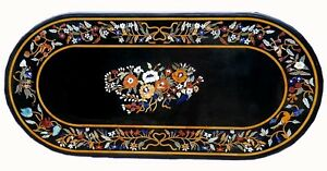 Black Marble Dining Table Top Inlay Marquetry Inlay Work Home Furniture