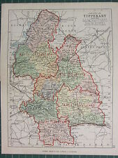 1885 ANTIQUE COUNTY MAP IRELAND ~ TIPPERARY ORMOND IKERRIN MIDDLETHIRD IFFA OFFA