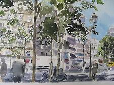 "RIGHT BANK, PARIS, FRANCE/WATERCOLOR PRINT/ 11"" X 17""/MIMI DAVIS, ARTIST"