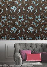 Duckegg Blue & Brown, Modern Floral Design, Suede Feel Wallpaper