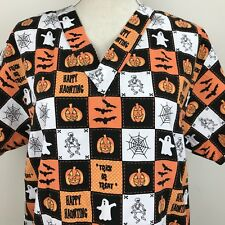 Comfy Cotton Scrub Halloween Trick Or Treat Spider Web Skeleton Pumpkins  Sz M