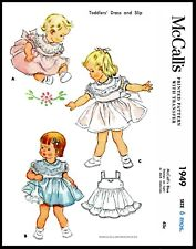 McCall's #1949 Fabric Sewing Pattern SHEER Dress Frock & Slip Baby Doll 6 Months