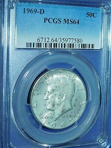 1969-D 50C Kennedy Half Dollar-PCGS #6712 Grade MS64--430-1