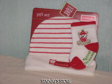 Carters Just One Year Baby My First Christmas Hat + Socks Bear 0-6 Months NWT