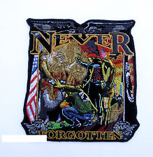 NEVER FORGOTTEN POW MIA PATCH US AIR FORCE NAVY ARMY MARINES USCG VIETNAM EAGLE