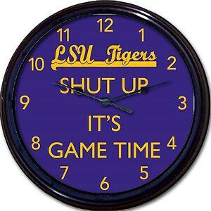 "LSU Tigers Shut Up It's Game Time Football Wall Clock NCAA Baton Rouge LA 10"""