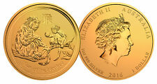 CNY Lunar 2016 Monkey 24K GOLD Plated .999 Silver 1oz Australian Perth Mint Coin