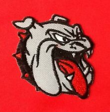 BULLDOG CARTOON PET DOG HEAD BUTCH BREED BADGE IRON SEW ON PATCH