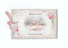 Embossed Photo Card Best Wishes From Your Teacher Lyons NY 1904 School Dist. 9
