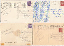 Lot 4 cartes postales timbrées timbres état français 1942-1943 Maréchal PETAIN 1