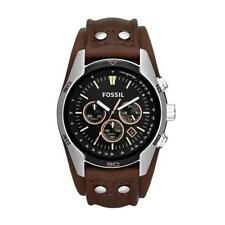 Fossil Herren-Armbanduhr CH2891 Edelstahl Leder Analog Quarz Schwarz Braun 44 mm