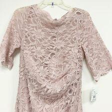 David's Bridal Tea Rose Short Sleeve Boat Neck Lace Mermaid Gown Dress Size 16