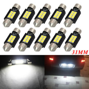 10x 31MM LED Festoon C5W Canbus 3030 6SMD Car Interior White Dome Map Light Bulb