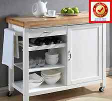 Rolling Kitchen Island Storage & Utility Cabinet Natural Wood Top Cart - White