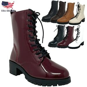 New Women's Combat Lace Up Mid Heel Threaded Lug Sole Ankle Boot Bootie