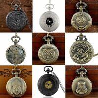 Vintage Pocket Watch Retro Steampunk Quartz Movement Pendant Necklace Chain Gift