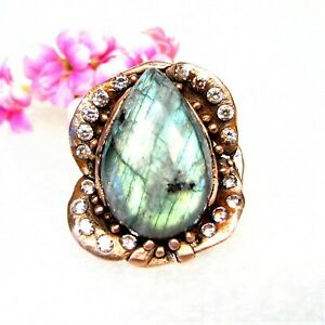 Antique Style Solid Copper Ring-Labradorite Stone-Size 7-