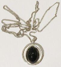 pendentif chaine bijou style vintage cabochon de verre noir couleur argent *4515