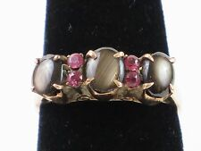 Vintage Black Star Sapphire and Pink Spinel 12k Gold Ring size 7