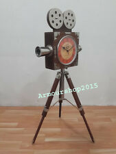 Vintage style Decorative Wooden Projector Clock on Tripod with clock Home Decor