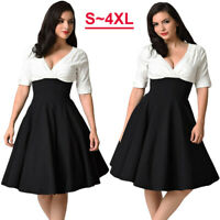 50s Vintage Women V-neck Hepburn Plus Size Evening Party Rockabilly Swing Dress