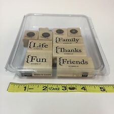 Stampin Up Make It Count Rubber Stamp Set of 10 Wood-Mounted Family Fun Life