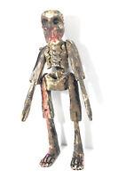 "Vintage 15"" Wood Skeleton Figure. Mexican Folk Art. Creepy Decor. Painted Carbed"