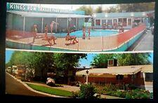 Vtg 1950's Las Vegas Postcard KING'S ROW Trailer Park Swimming Pool Fremont St.
