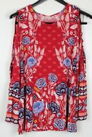 STYLE & CO Medium Women's Top Long Sleeve Cold-Shoulder Tunic Red Floral