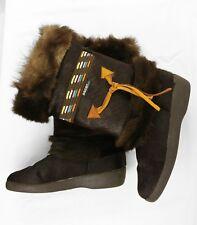 Oscar Sport Taiga Dark Brown Goat Fur Winter Mid-calf Boots, Euro 41 US 10 Italy