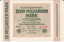 GERMANY BANKNOTE 10 P117a 1923 au Unc basically a UNC note paper storage marks