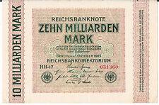 Billete De Alemania 10 P117a 1923 Au Unc básicamente un UNC marcas de almacenamiento de información de papel de nota