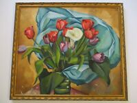 ANTIQUE FREDERICK BUCHHOLZ PAINTING STILL LIFE 1930'S OIL FLOWERS FLORAL AS IS