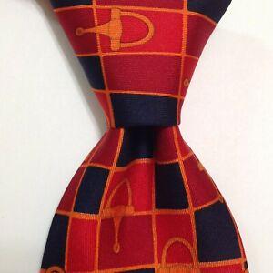GUCCI 100% Silk Necktie ITALY Luxury Designer EQUESTRIAN Red/Blue/Orange EUC