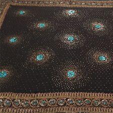 Sanskriti Vintage Heavy Saree Pure Georgette Silk Hand Beaded Sari Craft Fabric