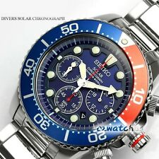 7SEIKO PROSPEX SOLAR DIVERS MENS WATCH CHRONOGRAPH SSC019P1 BLUE DIAL SSC019P