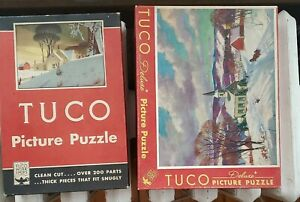 TUCO 2  1940s jigsaw Puzzles FRIEND OR FOE and  JINGLE BELLS  both COMPLETE