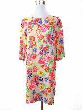 Nuevo look para mujer Vintage 60s Retro Estilo Floral Vestido recto de manga 3/4 Talle M BB8