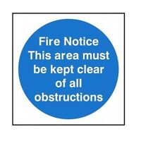 XT54 - Fixman White Rigid Plastic Fire Notice Sign 150mm x 150mm Safety Security