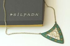 Silpada Brass Patina Shield Sterling Silver Triangle Pendant Necklace N3018