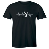 Heartbeat with Basketball Player Slam Dunk T-Shirt for Men Sports Tee