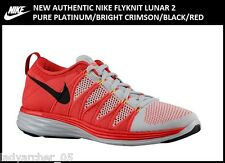 New Authentic Nike Flyknit Lunar 2 Shoes Size 10.5 Pure Platinum/Red
