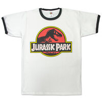 Awesome Jurassic Park Retro Vintage Movie Logo Ringer Style T Shirt (S - 2XL)
